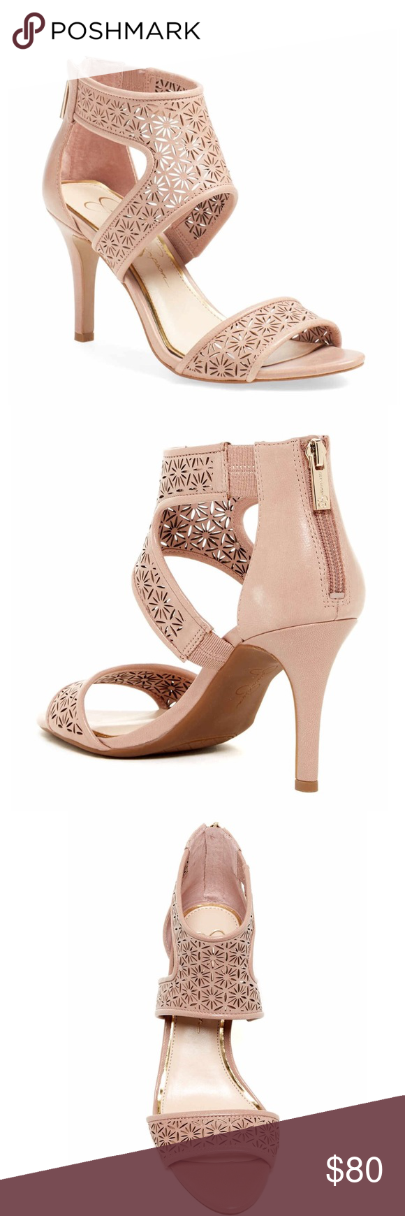 JESSICA SIMPSON Laser Cut Heel Sandal Beautiful Laser cut heel sandal in nude blush by Jessica Simpson. Back zip closure, 3.25 inch heel. Leather upper, manmade sole. Brand new, in box. Size 8.5. WILL POST PIC OF ACTUAL PAIR SOON! Jessica Simpson Shoes Heels