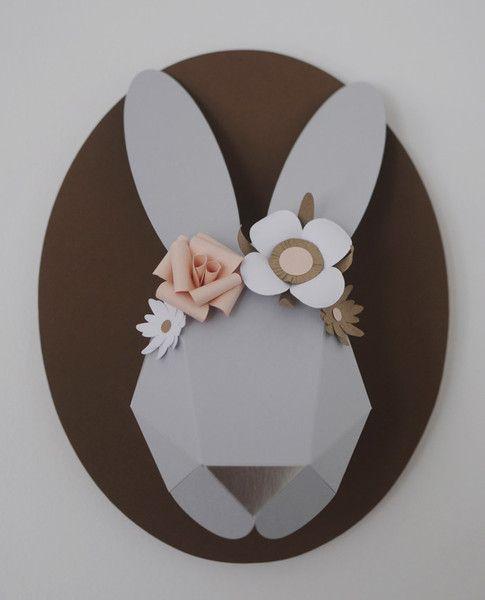 Grey and blush paper rabbit bust Chloe Fleury