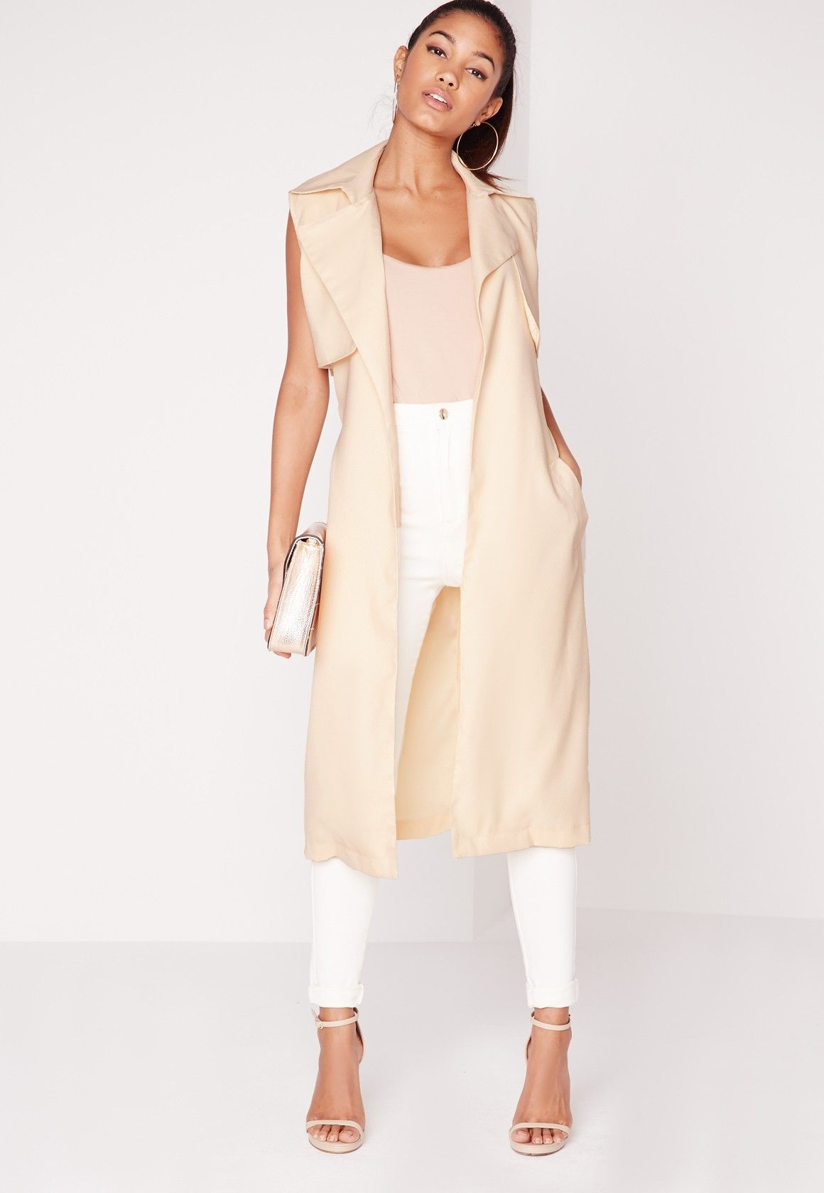 5743418fbc Missguided - Arabela Camel Sleeveless Lightweight Trench Coat More