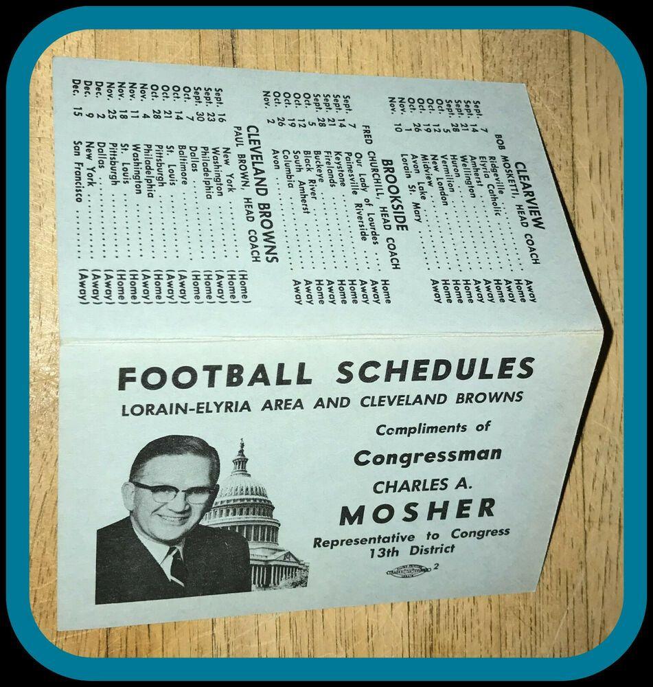 1962 cleveland browns ohio congressman mosher football