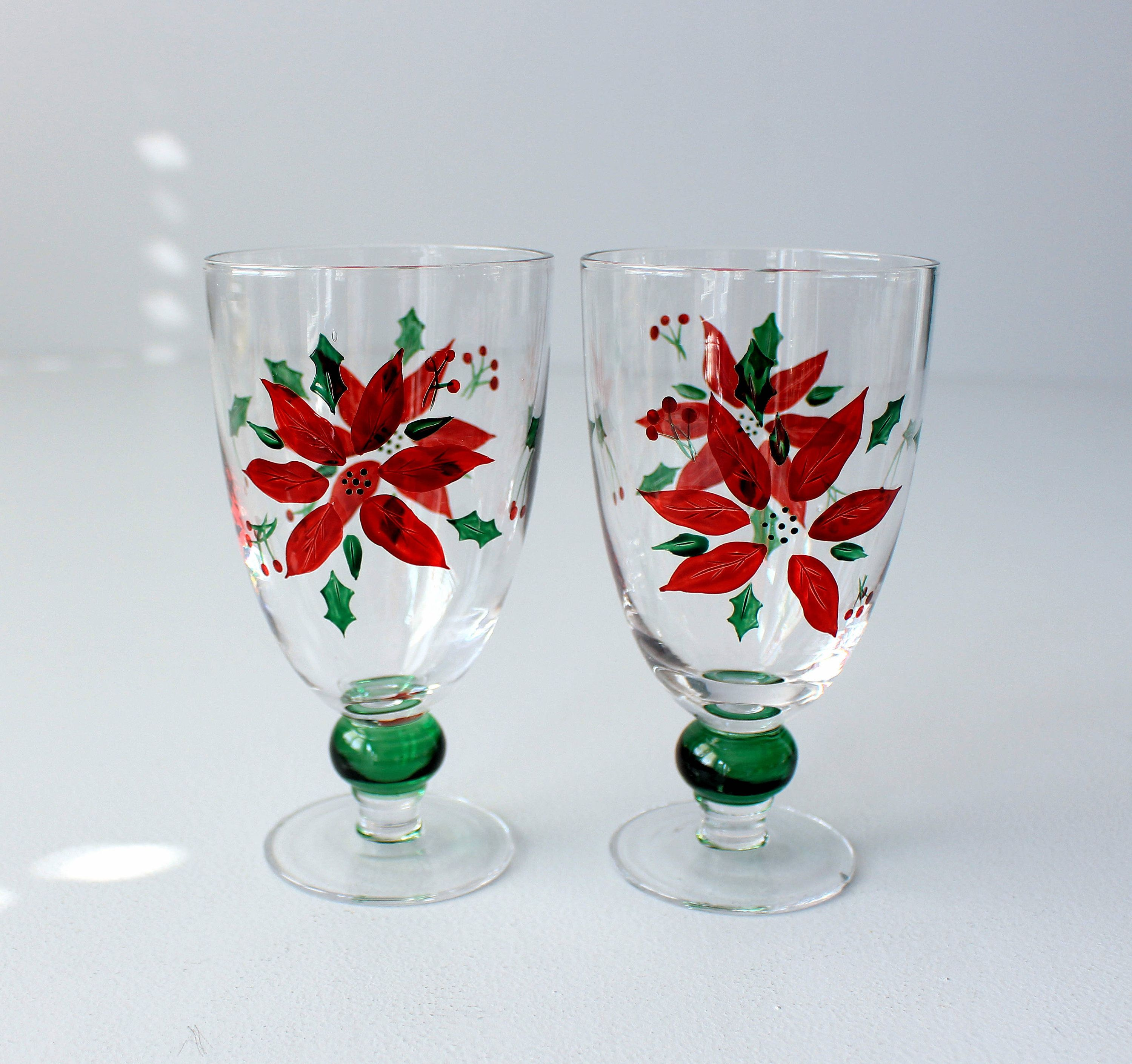 Crystal Wine Glasses Poinsettia Vintage Christmas Glasses Etsy Crystal Wine Glasses Christmas Glasses Wine Glasses