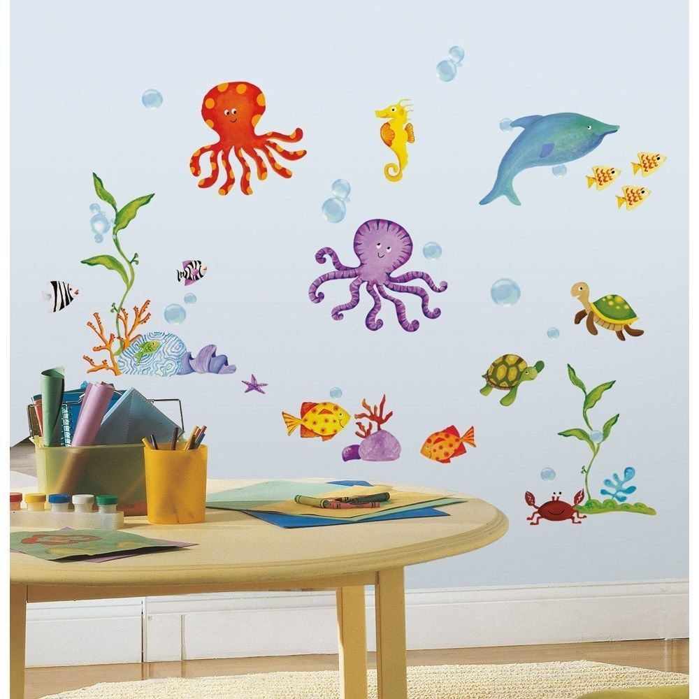 TROPICAL FISH WALL DECALS New Ocean Stickers Sea Creatures - Nursery wall decals home depot