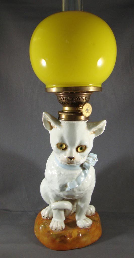 Porcelain Cat Figural Miniature Lamp Cat Lamp Lamp Victorian Lamps