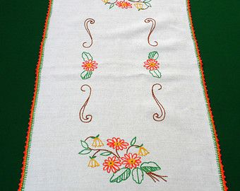 vintage embroidered white linen table runner tablecloth by Retroom