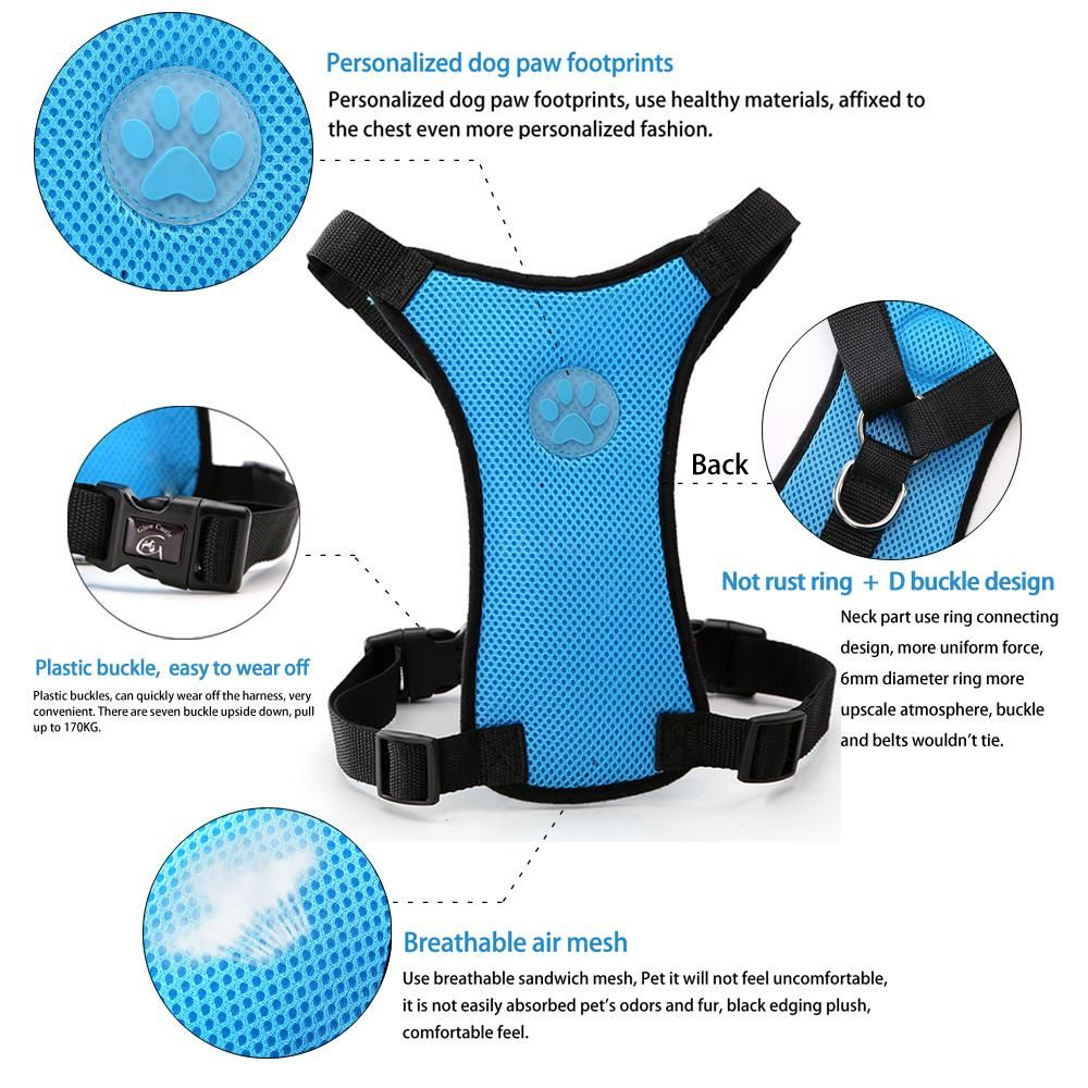 MaterialBreathable Mesh TypeDog Car Seat Harness