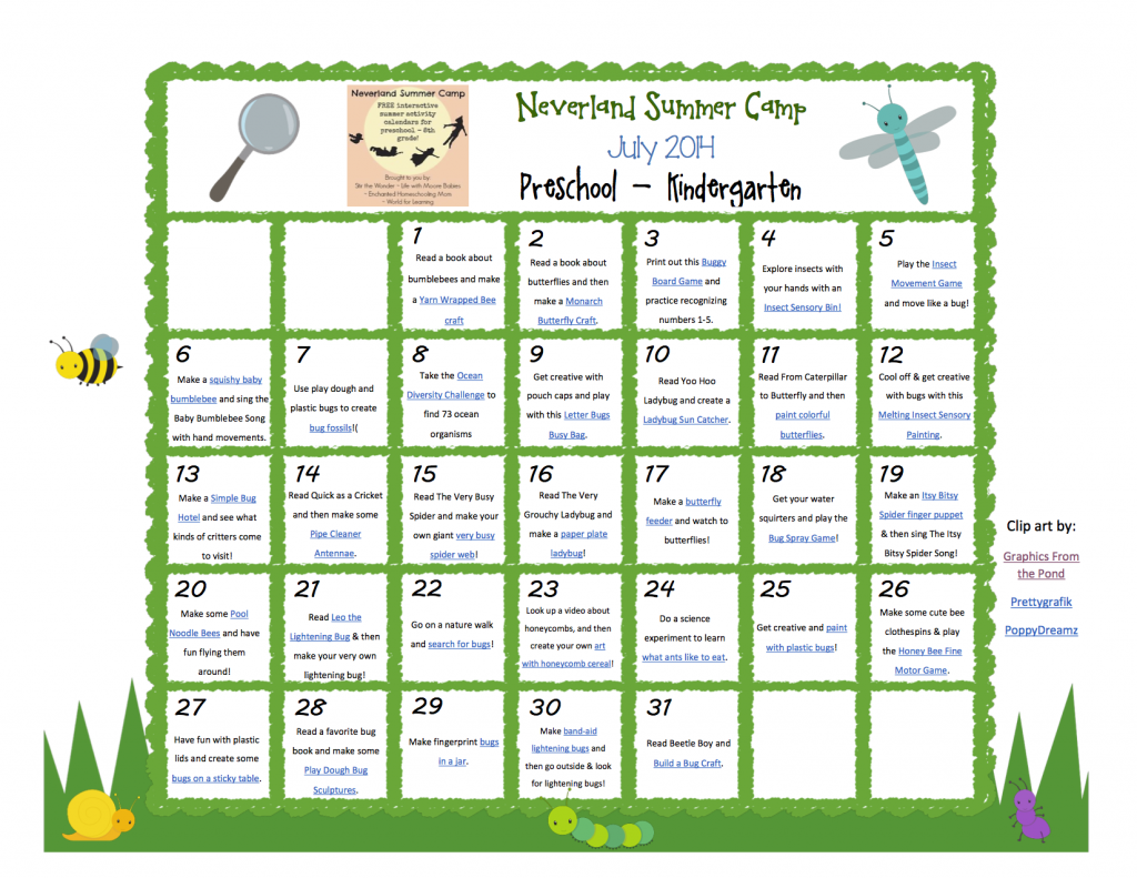 July Neverland Summer Camp Preschool Kindergarten Calendar Insect Theme