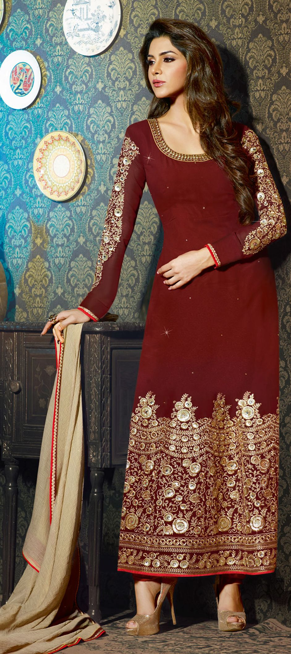 425781: Red and Maroon color family semi-stiched Party Wear Salwar ...