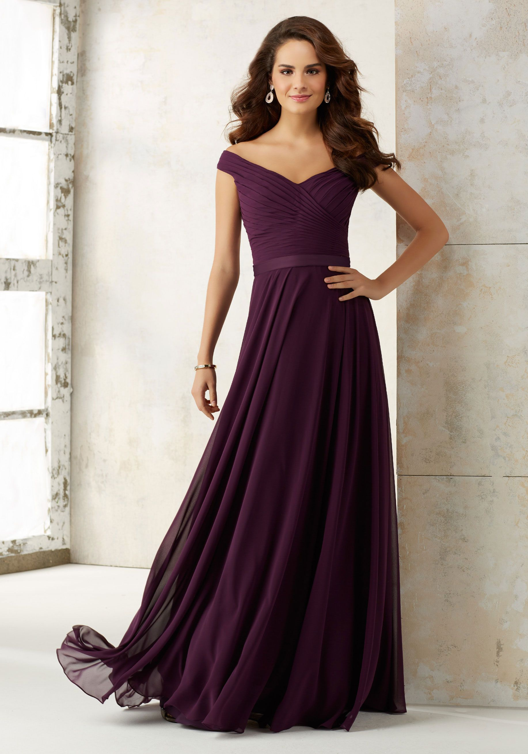 54650c7e7806 Chiffon Bridesmaids Dress with Off-the-Shoulder Neckline