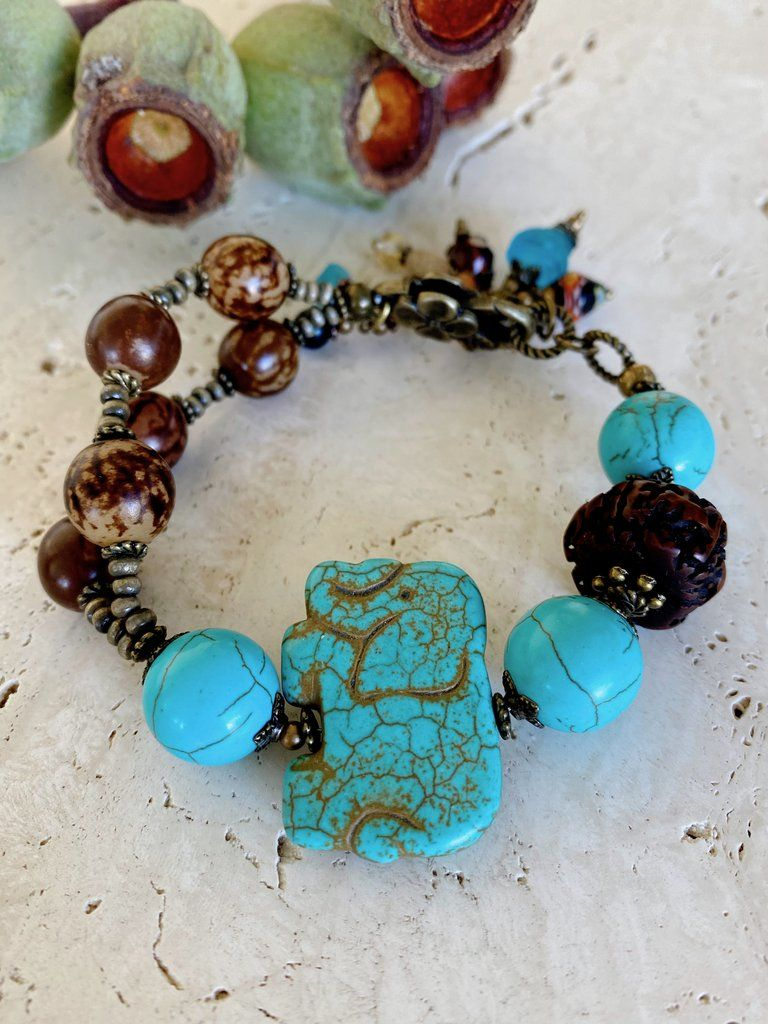 Handmade Turquoise Beaded Bracelets Charm Fish Shell Pendants Boho Women Jewelry