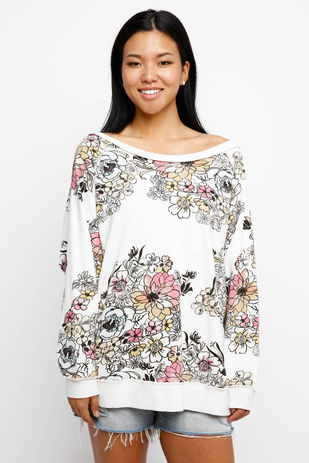 Free people go on floral printed sweatshirt south moon under