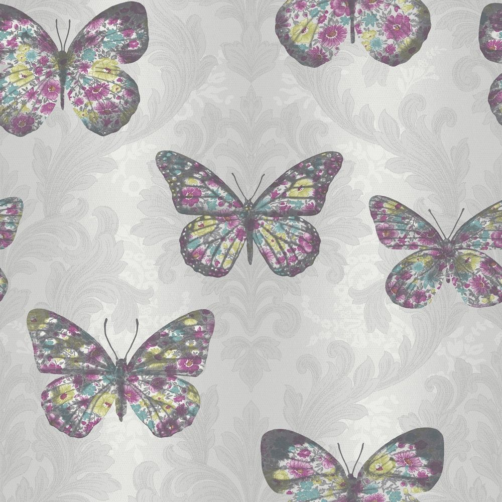 This is glittery but the pattern is a silver damask. Oh, and did I mention the psychedelic butterflies with dark silver borders? Can I go back to giant ladybirds instead, please? (This looks much paler on screen)
