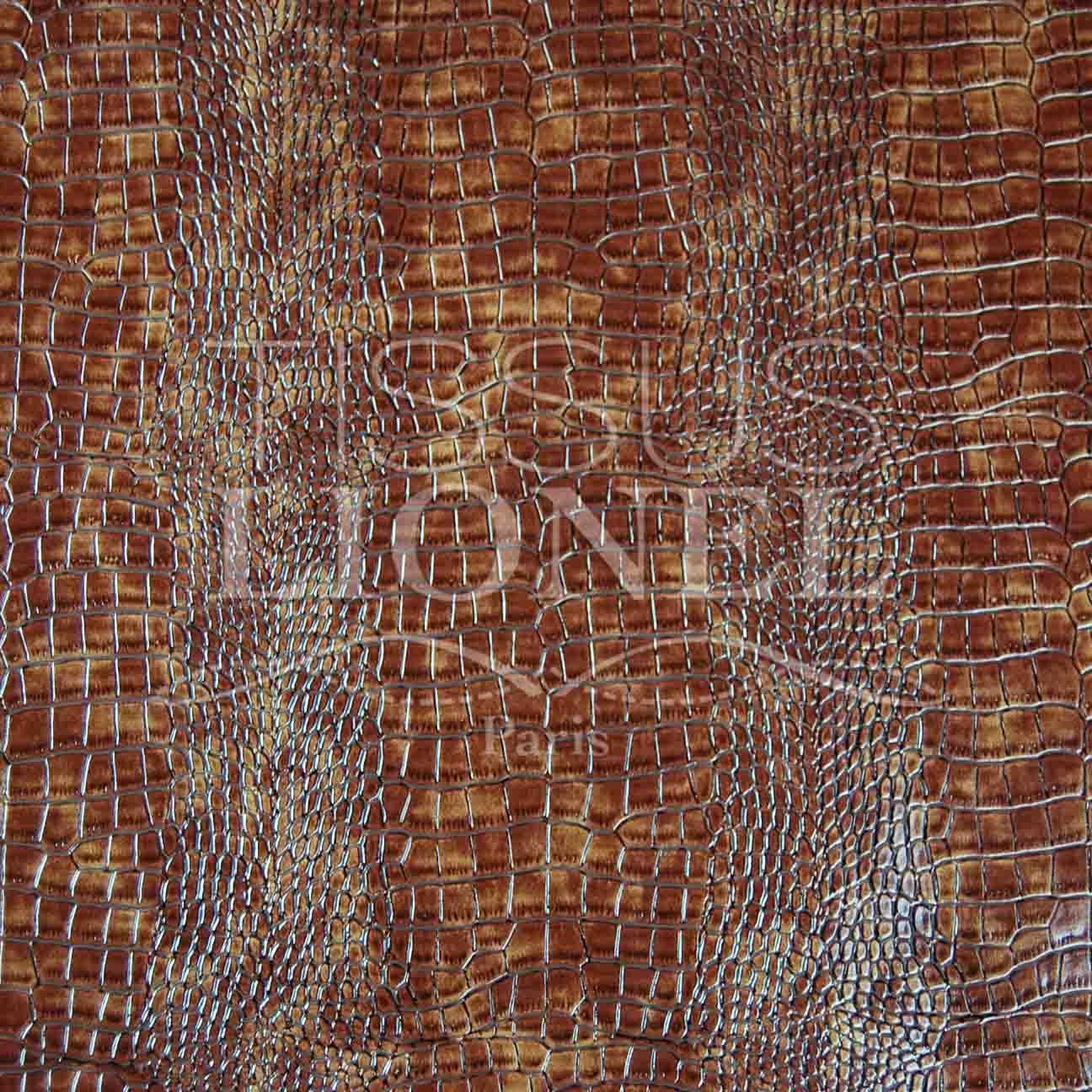 SKAI CROCODILE 2 MARRON CLAIR, LARGEUR 140 CM, 83% PVC 2% PU 15% PE