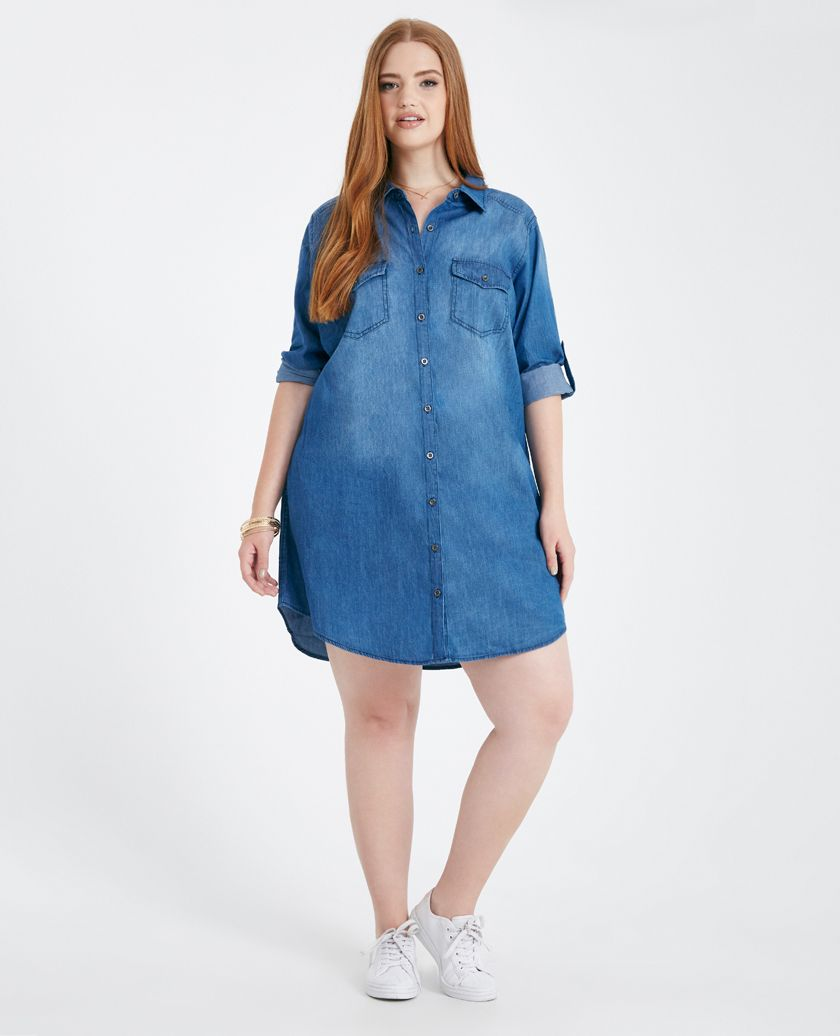 plus size roll sleeve chambray shirt dress | wet seal plus | denim