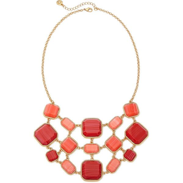 Monet Orange Stone Gold-Tone Drama Necklace ($29) ❤ liked on Polyvore featuring jewelry, necklaces, multi color necklace, multi colored necklace, orange stone necklace, monet necklace and orange stone jewelry