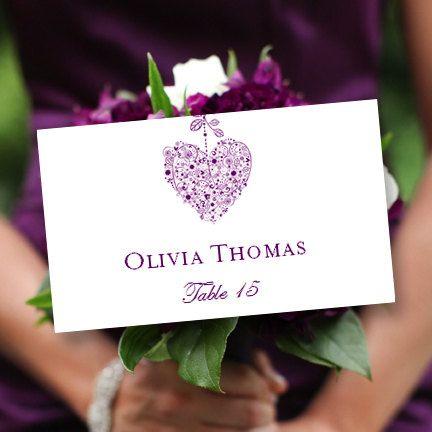 Printable Place Card Template Hearts Purple Editable Microsoft
