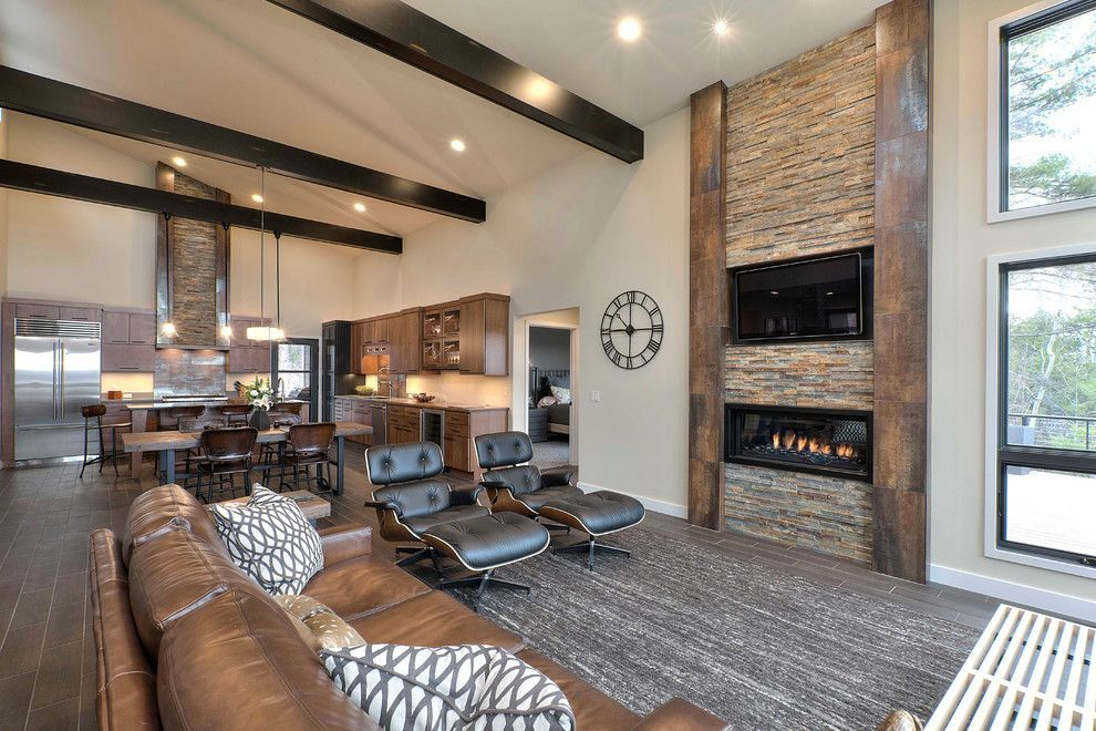 Modern Rustic Living Room Living Room Rustic With Brown Sofa Gray Area Rug Dark Ceiling B Modern Rustic Living Room Rustic Living Room Living Room Decor Modern