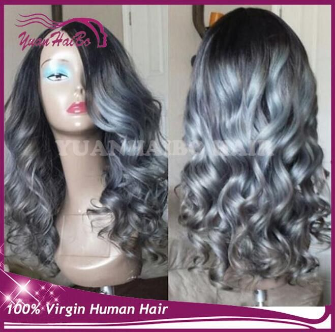 $156.00 (Buy here: http://appdeal.ru/dtc7 ) Hot selling none lace wigs two tone u part wigs virgin brazilian hair loose wave ombre grey u part glueless wigs free shipping for just $156.00