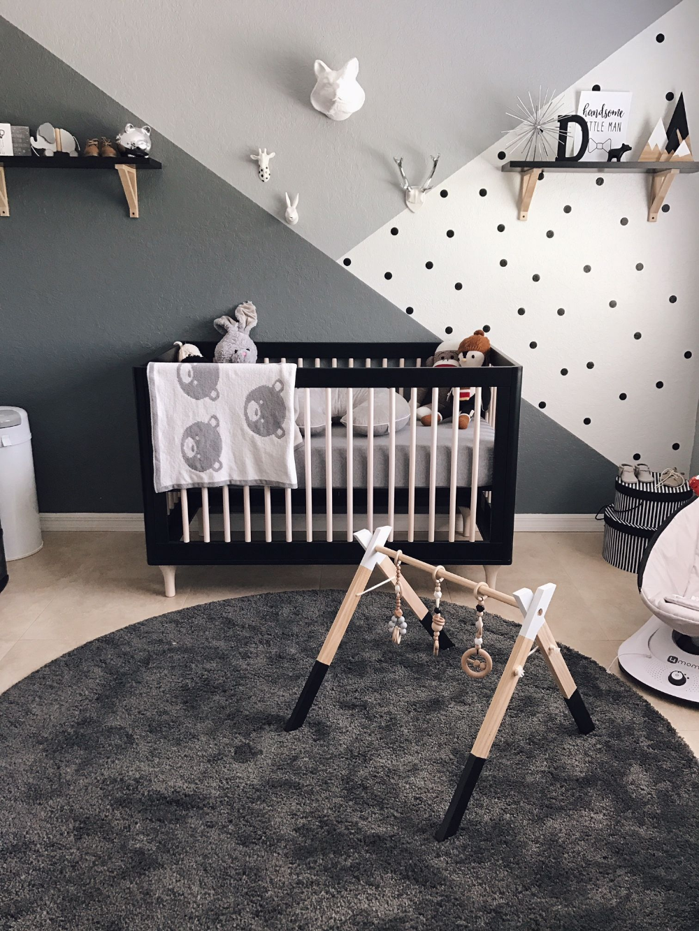 Astounding Black Accents Wall Paint For Modern Baby Room Idea Feat White Cradles And Agreeable Red Runner Ru Baby Room Colors Nursery Baby Room Baby Room Decor