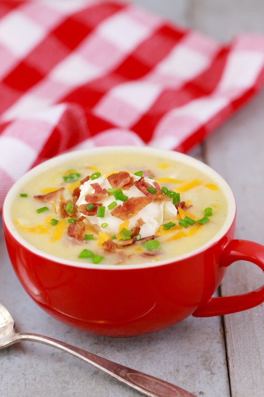 Loaded Baked Potato Soup In A Mug Healthy Microwave Mealsmicrowave Recipesmicrowave