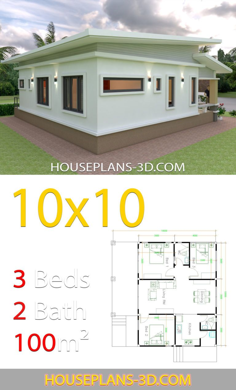 House Design Plans 10x10 With 3 Bedrooms Full Interior In 2020