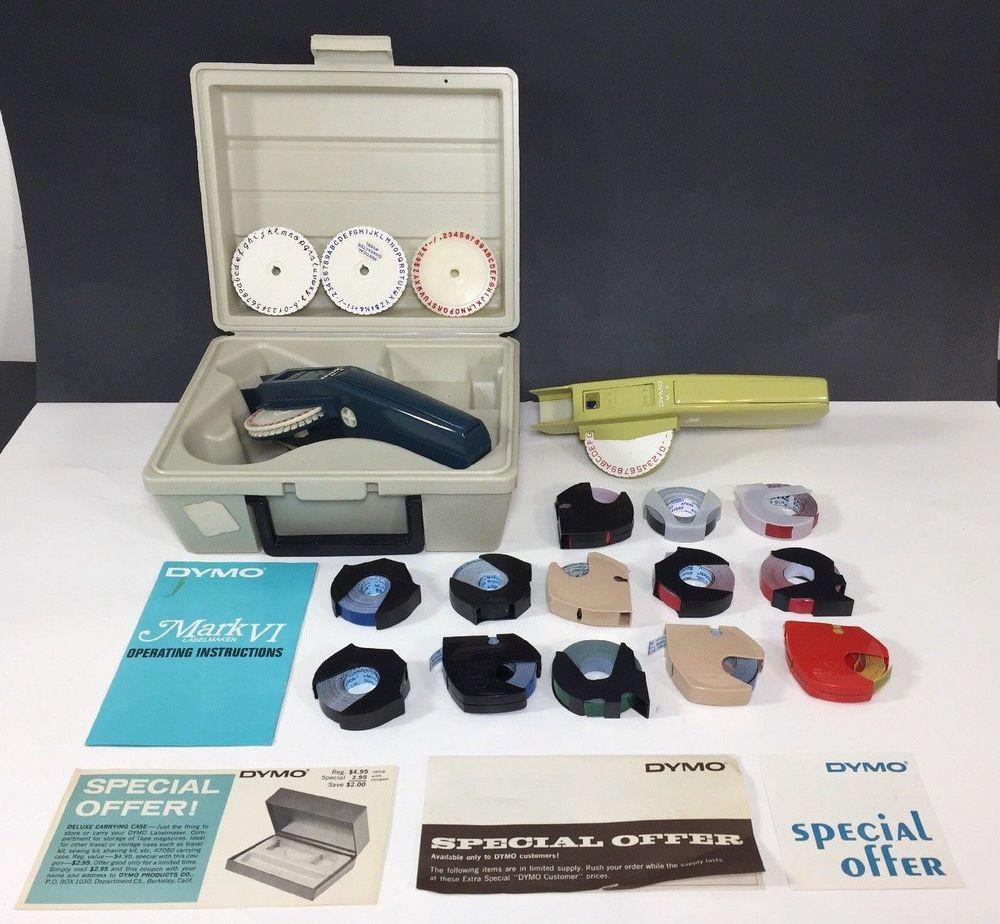 Vintage DYMO Label Maker MARK VI M-6 + Case Wheels Manual
