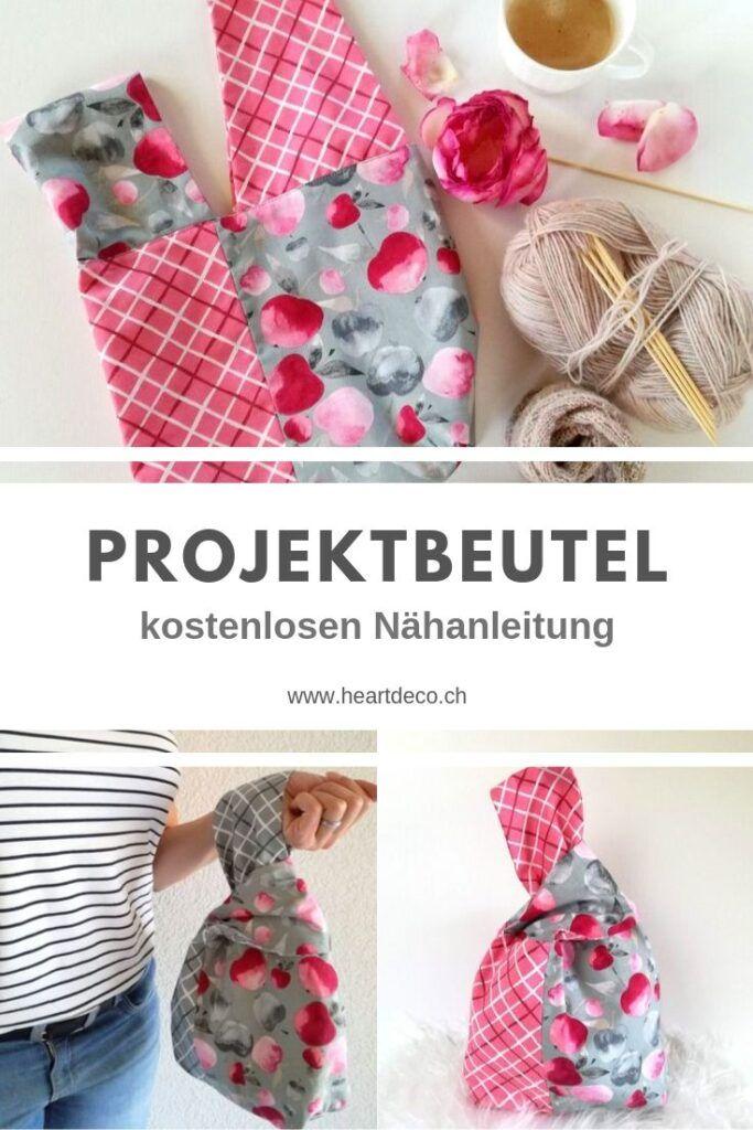 Sac de projet – instructions de couture gratuites sur le blog HeArtDeco   – Taschen