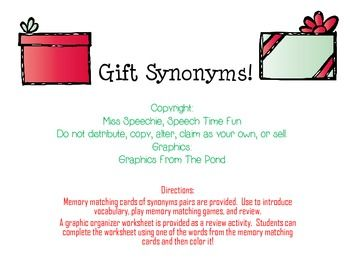 Gift Synonyms Freebie Speech Therapy Activities Synonym Therapy Activities