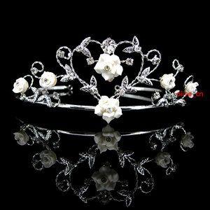 Very Beautiful Wedding Bridal Prom Handmade Ceramic Rose White Heart Tiara