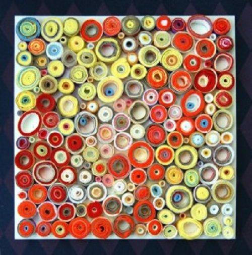 Cuadros con papel enrollado buscar con google cuadros - Manualidades con papel de colores ...