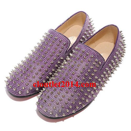 Discount Christian Louboutin Rollerball Spikes Men Flat Purple