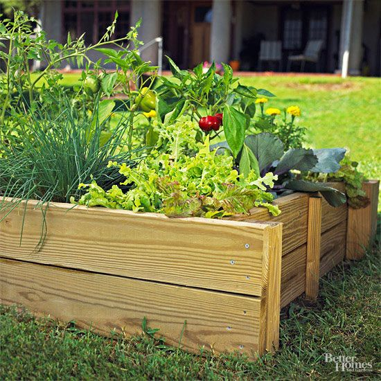 Make this DIY raised bed in just a weekend to save yard space and easily care for your vegetable or flower garden! You only need a few planks of wood and some nails to create this easy DIY yard project. Then, plant your desired plants or veggies and watch them grow while you easily care for them in the raised bed.