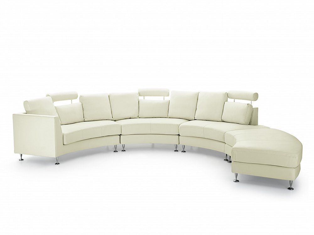 Curved Leather Modular Sofa Cream Beige