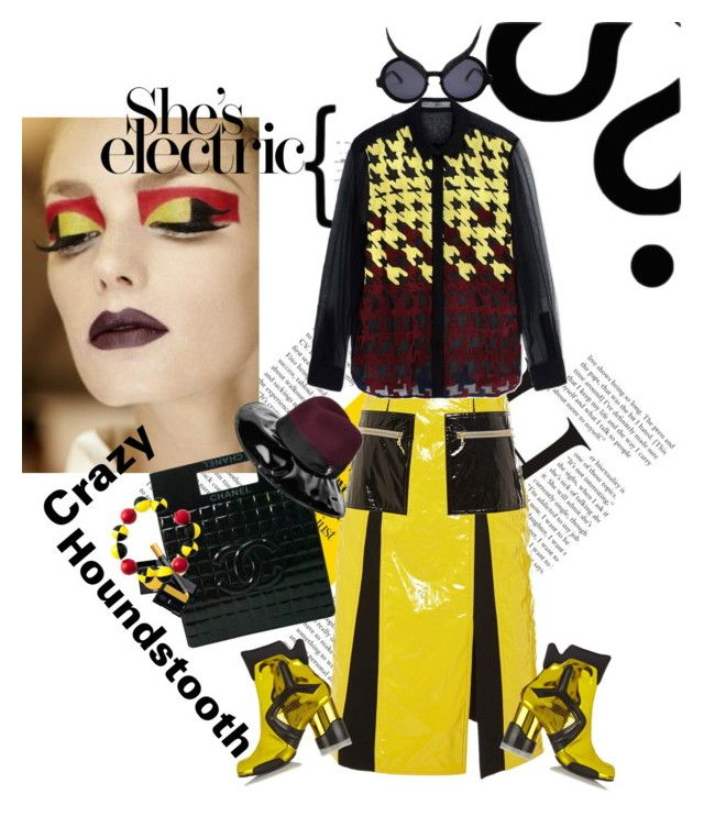"""""""Crazy Houndstooth"""" by naturalbornstyler ❤ liked on Polyvore featuring Tome, Mary Katrantzou, Chanel, A-Morir by Kerin Rose, Maison Margiela and Holly Fulton"""