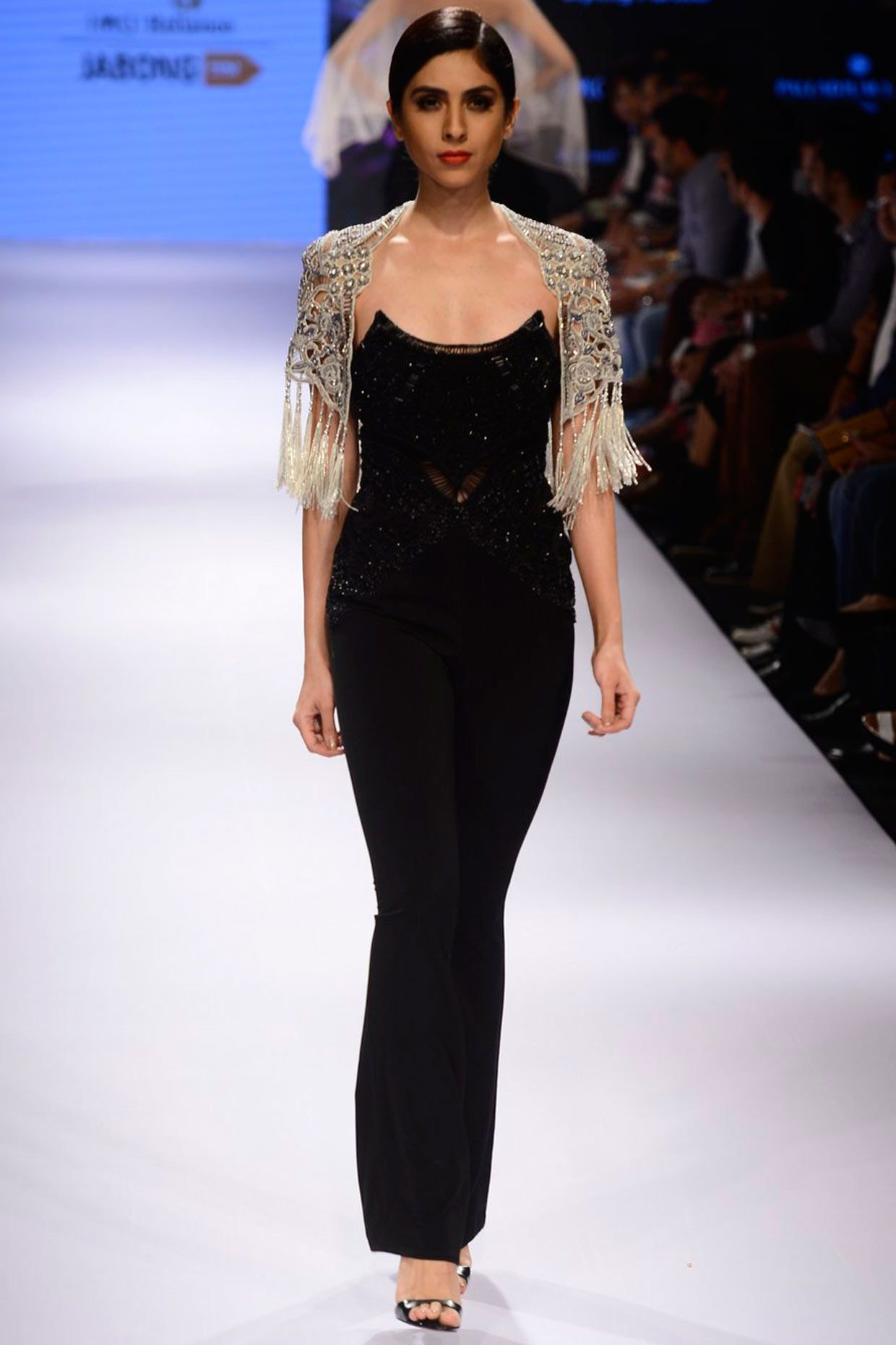 5bb037af003 Black embroidered jumpsuit with tassel bolero jacket available only at  Pernia s Pop Up Shop.