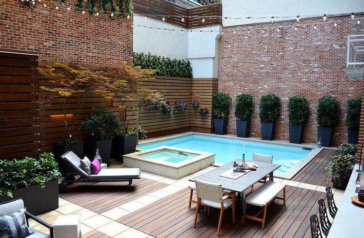 garten-ohne-rasen-pool-holzdeck-steinplatten | garten | pinterest, Garten und bauen