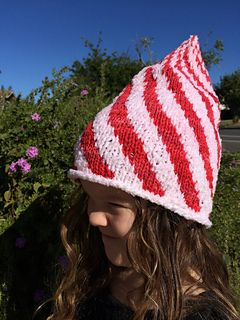 adorable elfin christmas hat.  candy cane twist hat