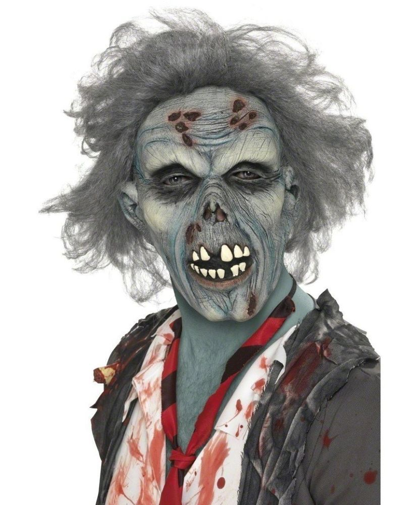Smiffys Decaying Blue Zombie Latex Mask Adult Kids Will Love It ...