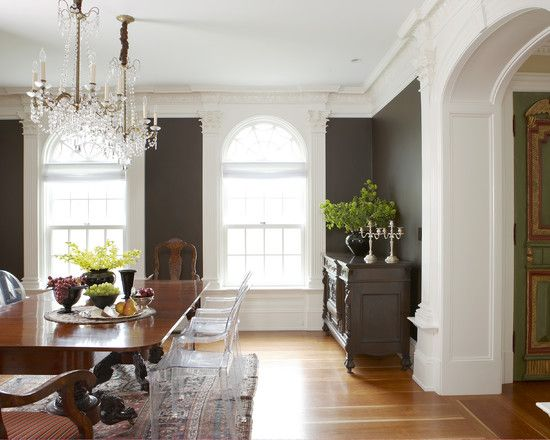 Dining Room Dark Gray Wall Design,