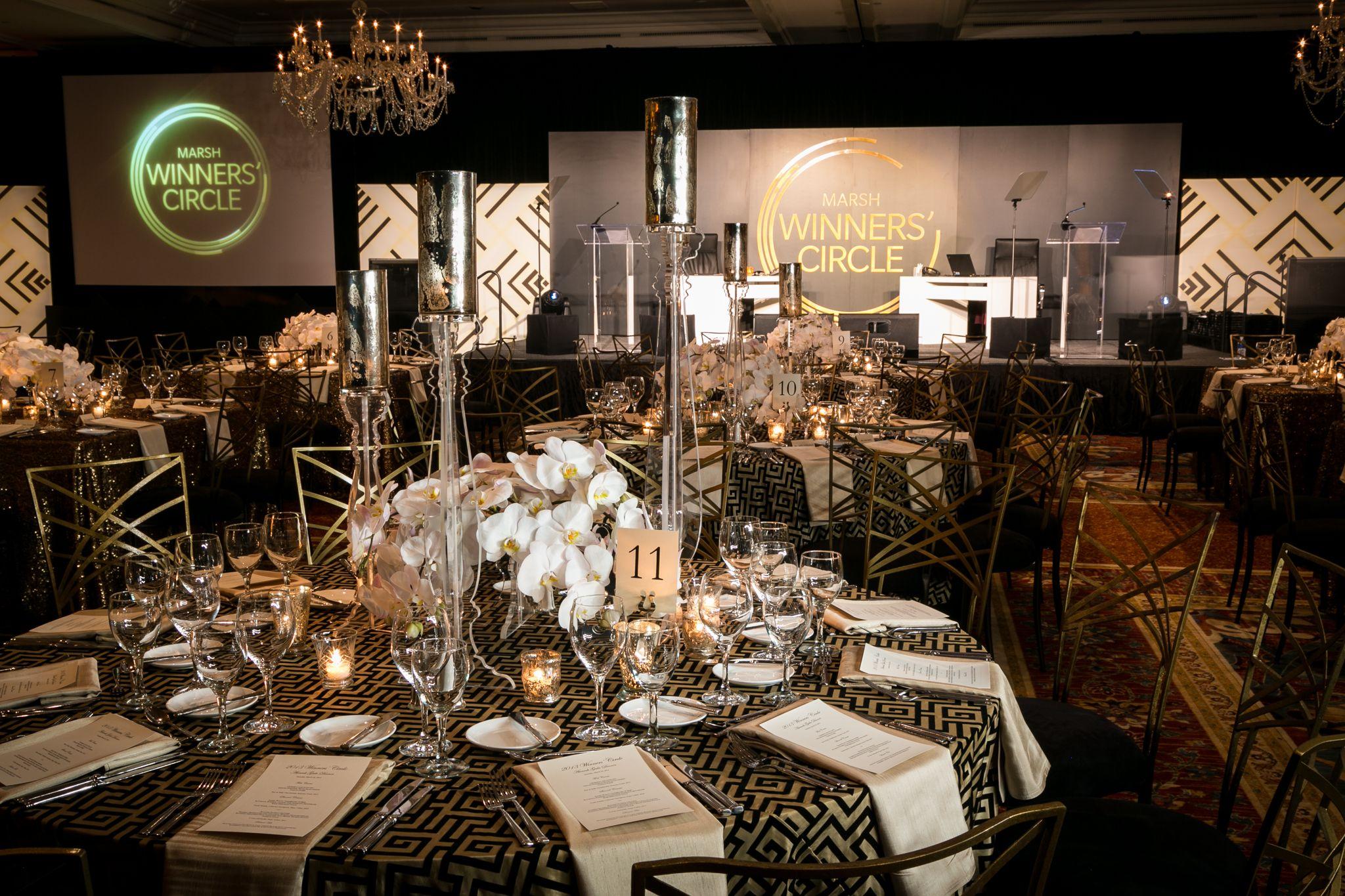 #Corporate #Events #Eventcreative #Gold #Black #Decor #Tables #Marsh