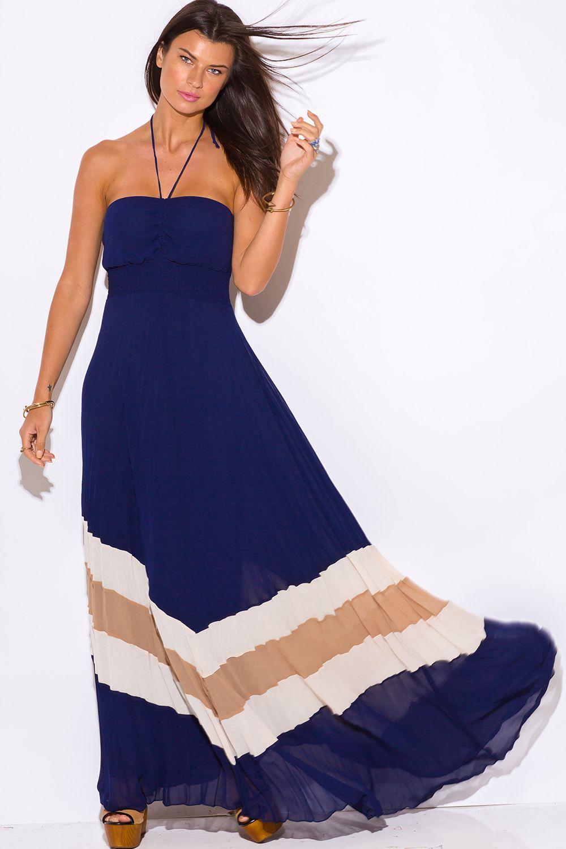 MADRID SUNSET | navy blue chiffon pleated halter evening party boho maxi sun dress - 1015store.com