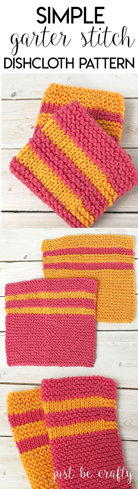 Simple Garter Stitch Dishcloth Pattern - Free Pattern by
