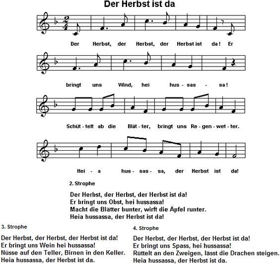 Ein Herbstlied Mit Gebärden Lieder Kindergarten Lieder Kinder