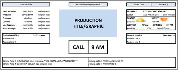 Call-sheet-template Filmmaking  Photography Pinterest Resume