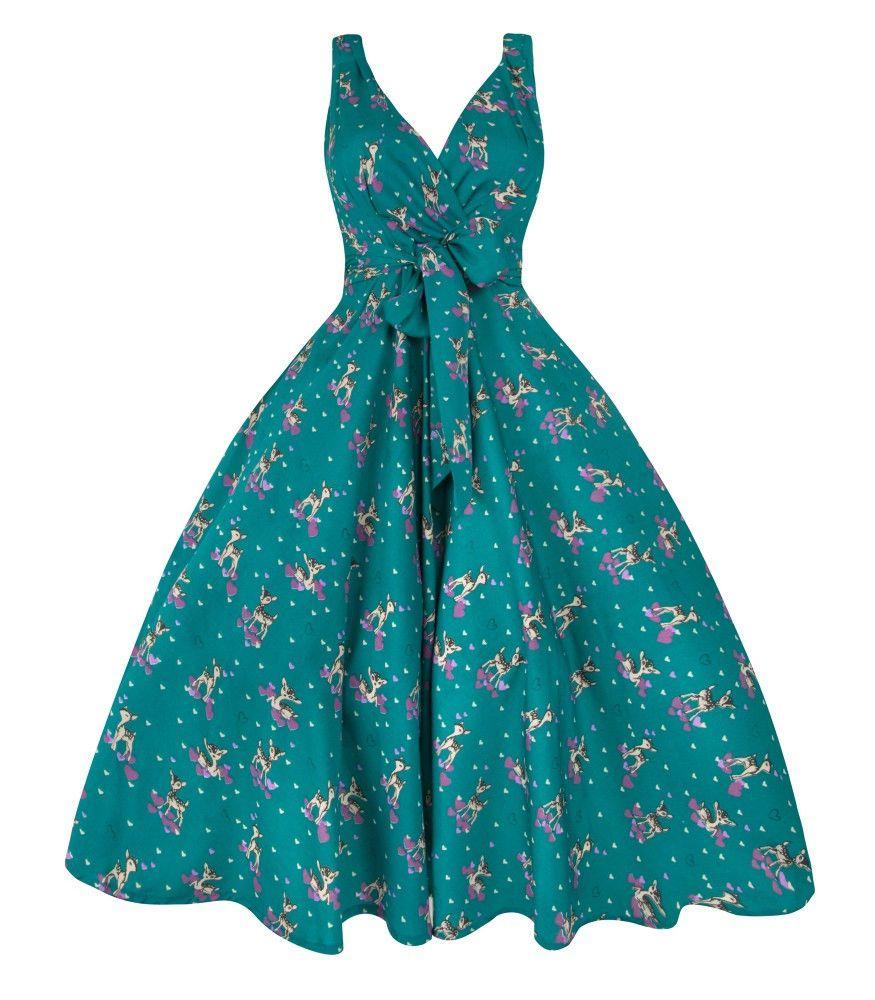 Teal Deer Design 1950s Vintage Party Dress   Vintage Retro Dresses ...