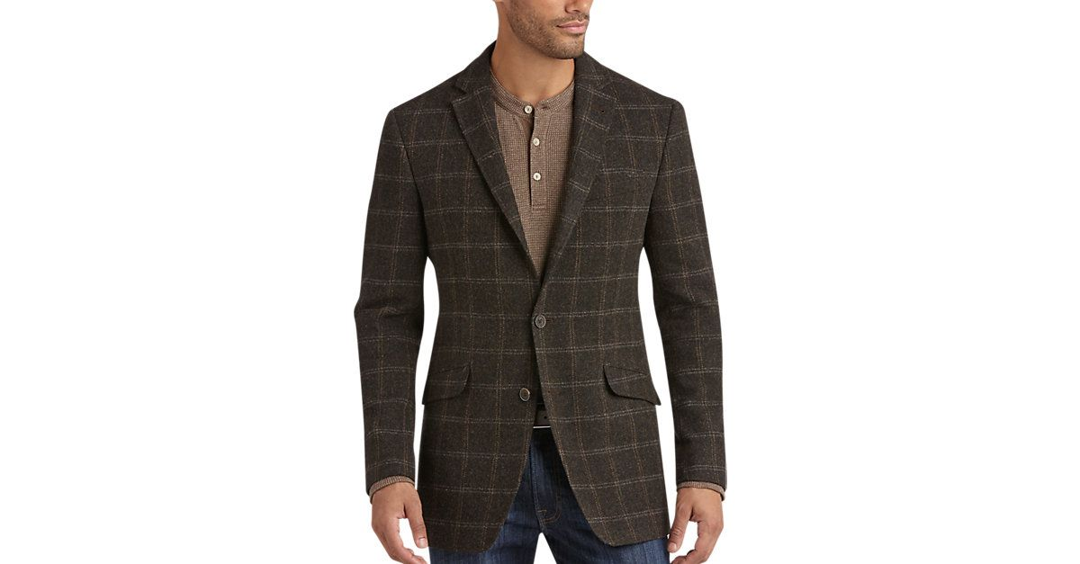 Check this out! JOE by Joseph Abboud Brown Plaid Slim Fit Sport Coat - Slim Fit from MensWearhouse. #MensWearhouse