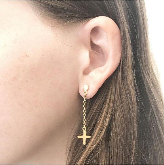 ec9e3928c Gold Cross Earrings, Chain Earring, Gold Chain Earring, Cross Earrings,  Long dangle Earrings, Dangle Stud Earring, Geometric Earrings, Plus