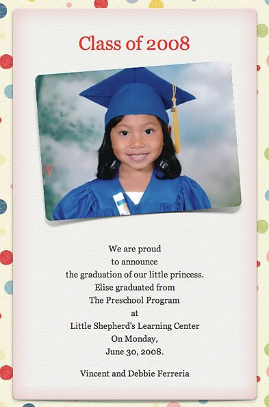 preschool graduation announcement graduation inspiration