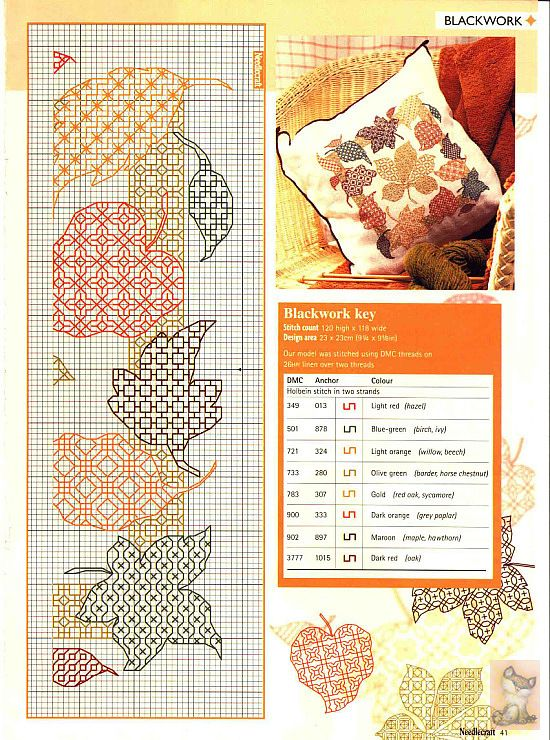 blackwork leaf 2 | Stitching | Bordado, Punto, Punto de cruz