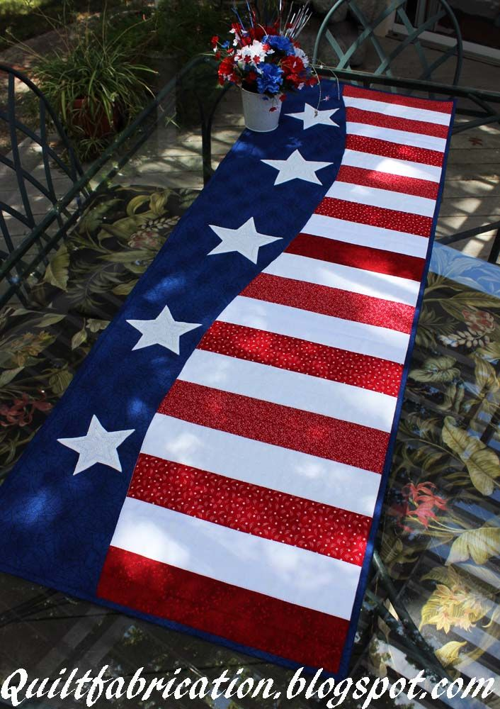 quilt fabrication patriotic wave table runner quilts