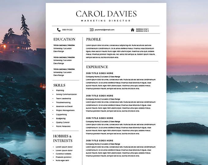 Modern Resume Template and Cover Letter, 1 / 2 Page CV Template for - 2 page resume template